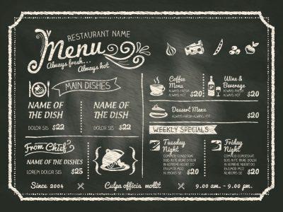 Menù invernale di carne e di pesce