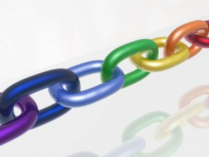 Chain with color links, white reflective background.